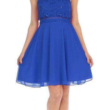 Beaded Neckline Halter Short Party Dress Royal Blue