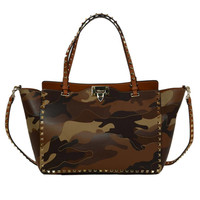 VALENTINO Tan Camouflage Leather/Canvas Patchwork Rockstud Tote Bag rt.$3,475