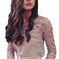 Women Lace Sleeve Blouses Shirts