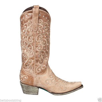 Lane Western Boots Womens Cowboy Willow Rhinestones Taupe Tan Champagne LB0045B