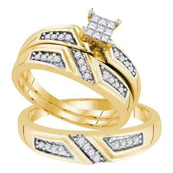 Sterling Silver His & Hers Princess Diamond Cluster Matching Bridal Wedding Ring Band Set 1/3 Cttw - FREE Shipping (US/CAN)