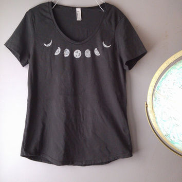 grey MOON PHASE neckline print on coal grey women's loose cotton tee t shirt design psychedelic scientific illustration moon shirt