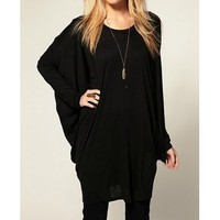 Trendy Scoop Collar Long Sleeves Loose-Fitting Women's T-shirt (BLACK,XL) in Tees & T-Shirts | DressLily.com