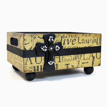 Large decorative storage caddy with layed wood and rhinstone cross, live, laugh, love stamped burlap design