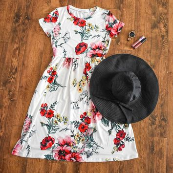Ivory Floral Short Sleeve Dress with Pockets