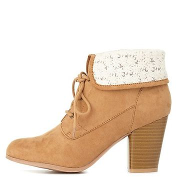 CROCHET-CUFFED LACE-UP BOOTIES