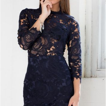 Harvest Dress in Navy Lace