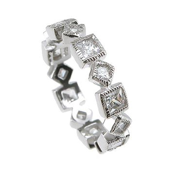 Plutus Brands 925 Sterling Silver Rhodium Finish CZ Princess Eternity Wedding Band 1 Carat weight - Size 9