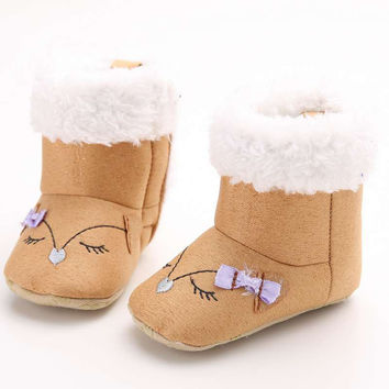 0-18M Hot Newborn Baby Girls First Plush Boots Toddler Infant Bebe Boots Soft Baby Shoes NW