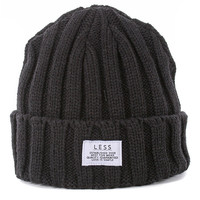 Less Simple Logo Beanie - Black at Urban Industry