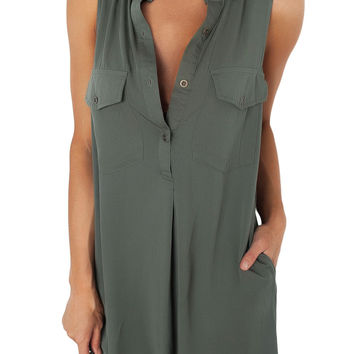 Army Green Button Down Tunic