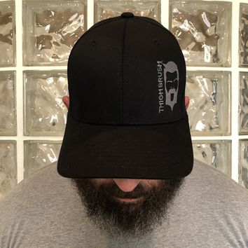 THIGHBRUSH - FlexFit Hat - Black with Grey - #THIGHBRUSHNATION