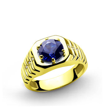 14 K Solid Yellow Gold Men's Ring with 2.40 ct Sapphire and 0.03 ct Diamonds