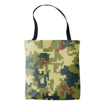 Green Camouflage Pattern All Over Print Tote Bag