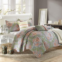 Antica 6-pc. Luxury Reversible Comforter & Quilt Set (Green)