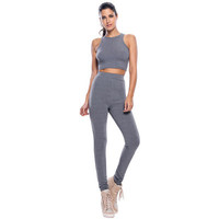 Fashion Black Slim High Waisted Round Necked Sleeveless Sport Top Women Tank Vest Trousers Pants _ 11984