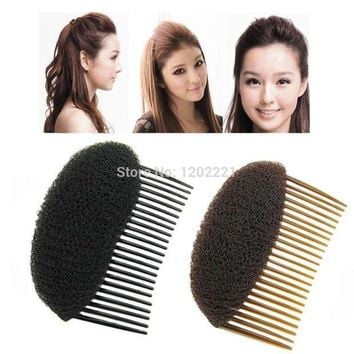 ESBG8W 1pc Hair Styler Volume Bouffant Beehive Shaper Roller Bumpits Bump Foam On Clear Comb Xmas Accessories