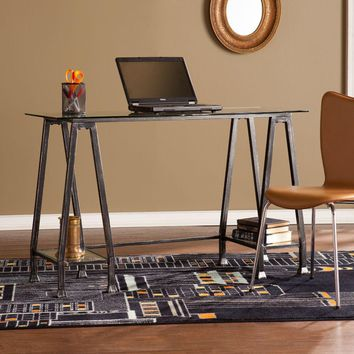 Metal/Glass A-Frame Desk - Distressed Black