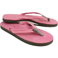 Women's Thin Strap Premier Leather Single Arch Sandal in Pink with Grey Trim by Rainbow Sandals