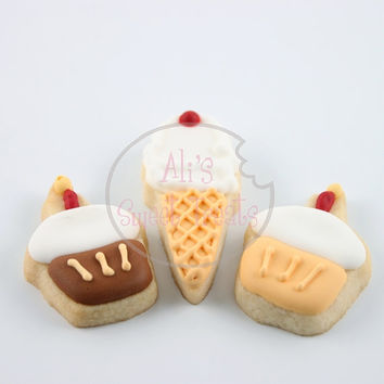 24 Mini Hand-Decorated Ice Cream/Cupcake Cookies