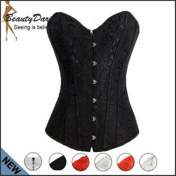 Sexy Corset Overbust Waist Training Red,Black,White Bustier Corset Gothic