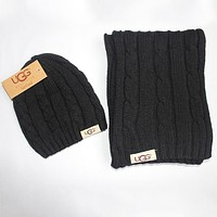 UGG 2018 autumn and winter models men and women warm knit hat scarf two-piece F0908-1 black