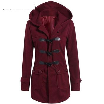 Womens Coat Winter Wool Blend Hooded Flap Pockets Coat