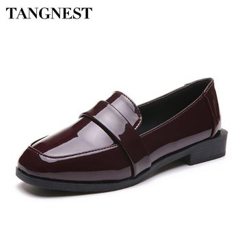 Tangnest Patent Leather Women Oxfords Shallow Slip On Round Toe Women Flats Comforable Breathable Women Casual Shoes