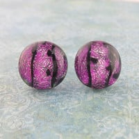 Pink Earrings, Dichroic Pink with Black Accents, Pink Stud Earrings, Evening Jewelry - Glitzy Pink - 1735 -4