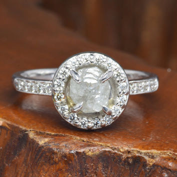 1 Carat Rough Diamond Halo Half Eternity Engagement Ring