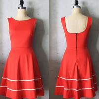 COQUETTE in POPPY - Poppy red dress with pockets // flared circle skirt // valentines // bridesmaid dress // vintage inspired