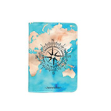 World Map [Name Customized] Leather Passport Holder/Cover /Wallet_SCORPIOshop