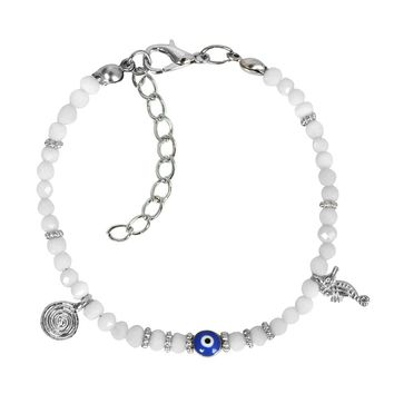 Evil Eye Protection Amulet Cute Snow White Accents Sea Horse Magical Symbols Lucky Charms Bracelet
