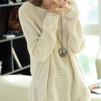 Beige Loose Bat Hollow Long Sleeve Sweater For Women