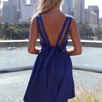 Blue Sleeveless Pleated Dress with Open Bow Back Detail