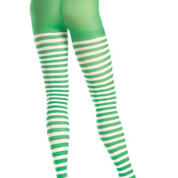 Be Wicked Green and White Striped Tights