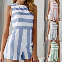 Women's sexy striped jumpsuit