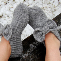 Hand knit wool slippers, Hand knit wool slipper socks, Hand knit slippers, Knitted Wool Socks, knitted wool slippers, Wool socks for women