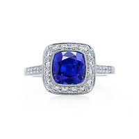 Tiffany & Co. - Tiffany Legacy® sapphire ring in platinum with diamonds.