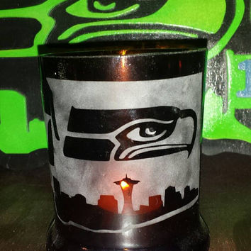 Seahawks Inspired Candle holder  / Whiskey Glass!