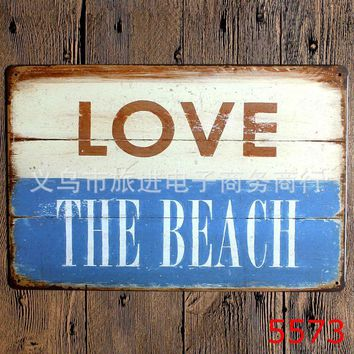 Metal Tin Signs bar KTV retro door plate beach Painting Vintage poster wall art decor antique house antique decoration 20x30 cm