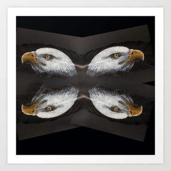 Bald Eagle Feather Painting Real Peacock Feather Wildlife Fine Art Danielle Trudeau Art Print by CHESSOrdinary