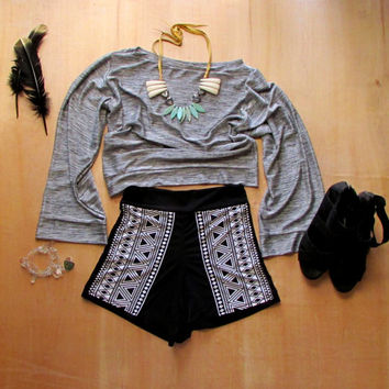 High Waisted Shorts Navajo Print Bottoms Black Spandex Pin up style native tribal style