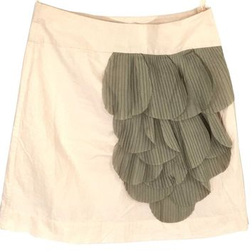 Floreat Anthropologie Skirt Ruffle Petals Pink Beige Rose Of Sharon Womens 0 - Preowned