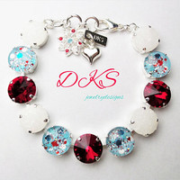 Peppermint Blizzard, Swarovski 12mm Confetti Bracelet, Christmas, Winter, Hand Painted Cabochons, DKSJewelrydesigns, FREE SHIPPING