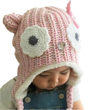 2017 New Brand Girls Hats Pink Owl Kids Baby Winter Hats Bonnet Enfant Hat For Children Baby Muts KF079