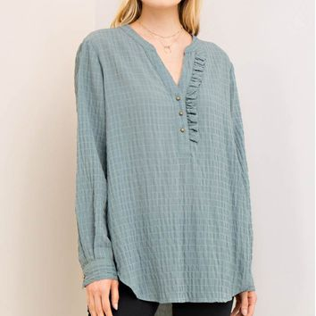 Plisse Button-Down Tunic Top