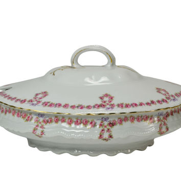 Large Serving Bowl and Lid with Pink Garlands, Possibly Limoges, Antique French, Early 1900s