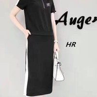 """Adidas"" Summer Fashion Casual Multicolor Short Sleeve Tops Long Skirt Set Two-Piece"