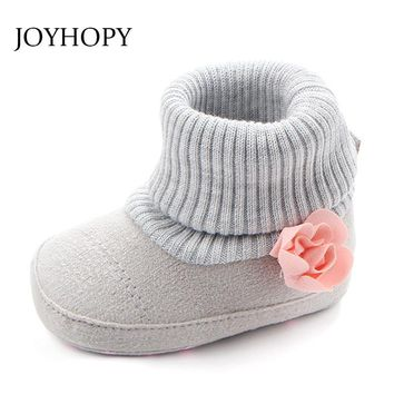 JOYHOPY Spring Autumn Baby Shoes Sofe Anti-slip Flower Newborn Boys Girls Shoes First Walkers Baby Moccasins